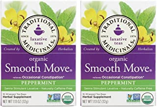 Traditional Medicinals Smooth Move Senna Herbal Stimulant Laxative Tea, Peppermint 1.13 oz (Pack of 2)