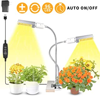 WOLEZEK Plant Light for Indoor Plants, 50W 96 LED Auto ON/Off Timer Full Spectrum Grow Lamp, 3/9/12H Timing 13 Dimmable Levels for House Garden Hydroponics Succulent Growing