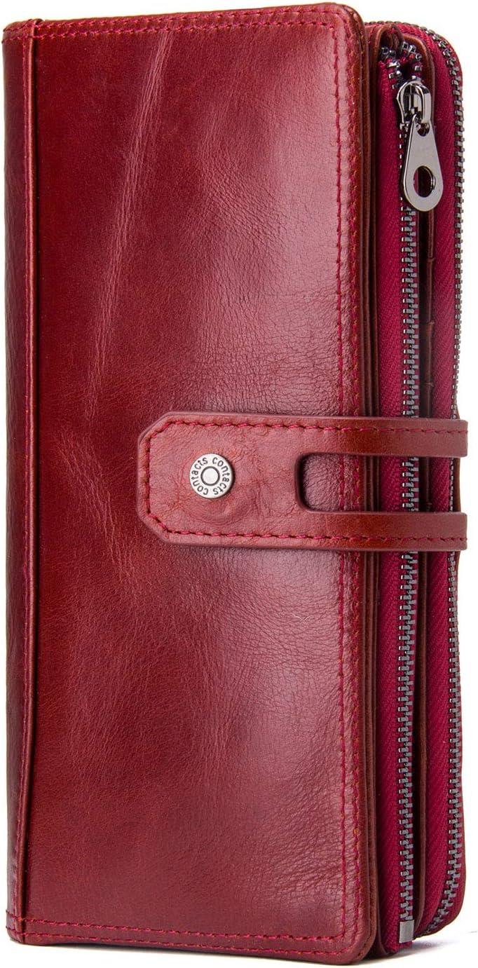 Contacts genuine Leather Women Holder Over item handling ☆ Secretary Checkbook Phone Sale price