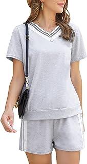 Irevial Conjunto Chandal Mujer Completo con Cuello en V Rayas Conjunto Deportivo Mujer Verano Dos Piezas Pantalon Chandal ...