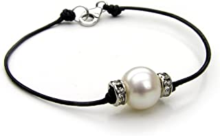 Women's Bracelet with Pearl | Leather Cord Bracelet with...