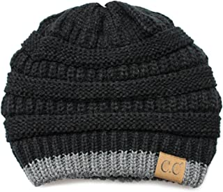 C.C Exclusives Cable Knit Soft Stretch Two Tone Striped Beanie Hat (HAT-57)