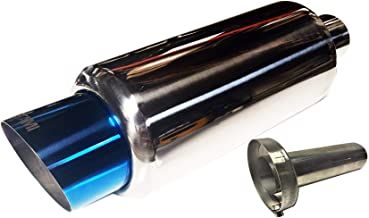 NETAMI NT-0218 Polished Stainless Steel Performance Muffler with Blue Tip Inlet 2.25