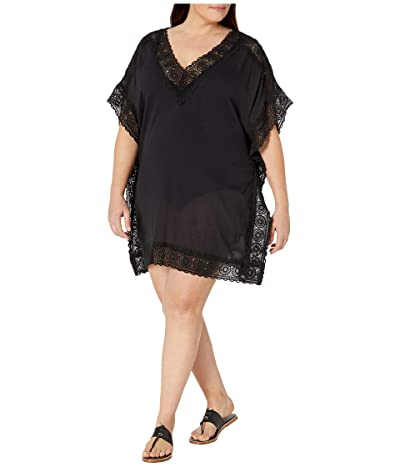 La Blanca Plus Size Island Fare Short Sleeve Tunic Cover-Up (Black) Women