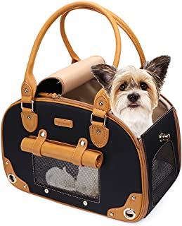 PetsHome Dog Carrier, Pet Carrier, Cat Carrier, Foldable Waterproof Premium Leather Pet Purse Portable Bag Carrier for Cat and Small Dog Home & Outdoor