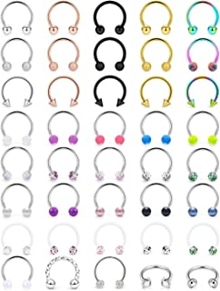 Boernfnso Septum Jewelry 16G Stainless Steel Horseshoe Rings Clicker Septum Rings Hoop Round Clear CZ Tragus Cartilage Ear...