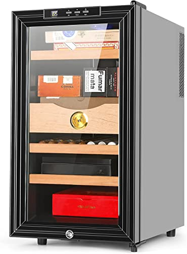 2021 300 Count Cigar Cooler Electronic Thermoelectric Cigar Humidor Cabinet with Spanish Cedar Wood Shelves outlet online sale and Drawer Build in wholesale Hygrometer Lock for Father Husband online sale