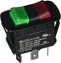 NTE Electronics 54-240W Waterproof Miniature Illuminated Rocker Switch, SPDT Circuit, ON-Off-ON Action, PC Red Green Led Actuator, 0.250