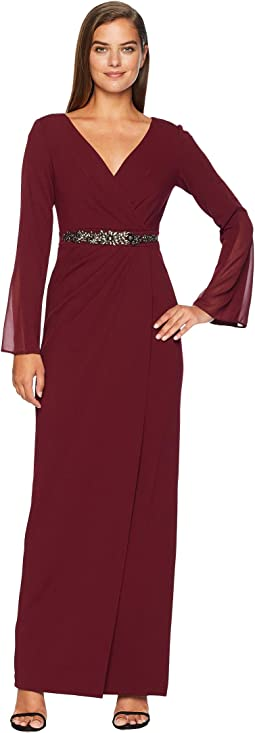 Long Knit Crepe Dress with Chiffon Sleeves and V-Neckline