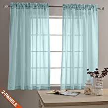 Sheer Curtains for Living Room Window Curtains 63 inch Length Drapes Textured Voile Pole Top Sheer Window Panels for Bedroom 1 Pair Baby Blue