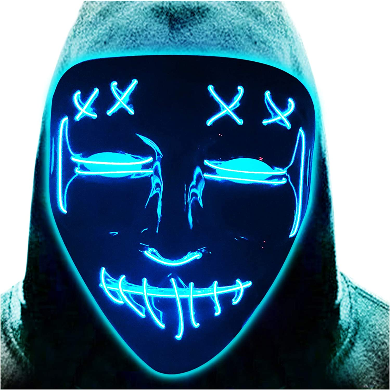 Halloween LED Mask Rare Light Up Scary Costume EL R Cosplay Max 81% OFF Wire
