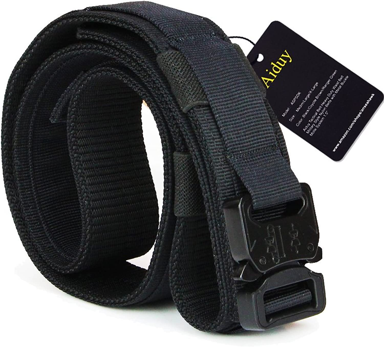 2bd92092873e7 Aiduy Tactical Belt Heavy Duty Waist Belt Adjustable Style Nylon ...