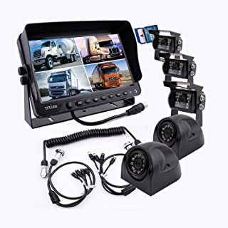 Camnex The 5th Wheel Camera Monitor System Build-in DVR Recorder with Quad Split Screen, 9 inch Monitor + 5X Cameras + Trailer Tow Quick Connect Disconnect Kit Suitable for Fifth Wheel Trailer Truck