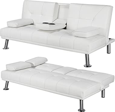 Yaheetech Living Room Sofa Faux Leather Couch Modern Sleeper Sofa Reversible Loveseat Folding Down Couch, 3 Angles Adjustable