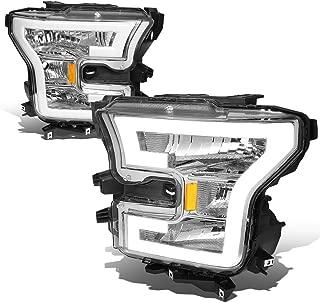 For Ford F150 Pair 3D LED DRL Tube Running Strip Headlight/Lamps (Chrome/Amber)