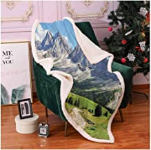 Farmhouse Decor Full Size Blanket Winding Path into Pine Tree Forest Meadows and Mountain Scenery Print Blanket Cover Green White Blue 60