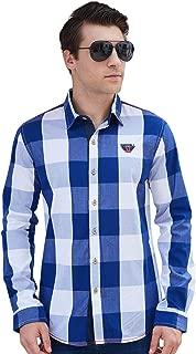 Men's Casual Shirt Slim-Fit Long-Sleeve 100% Cotton Plaid Shirt