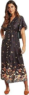 Floral Border Print A-Line Midi Women's Dress with Button Closure
