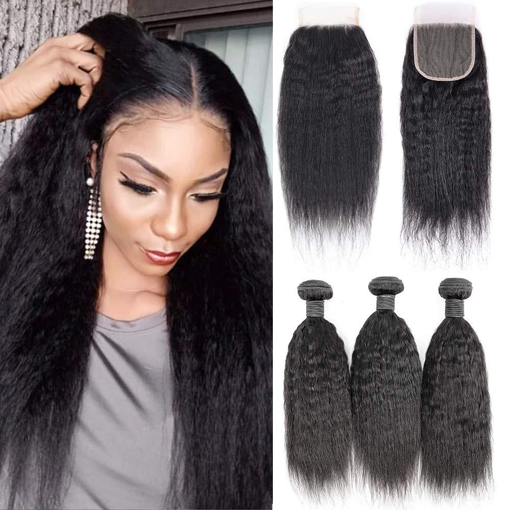 Brazilian Virgin Kinky Straight Max Sale SALE% OFF 47% OFF Human Hair La Bundles with 3 4x4