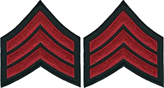 Pair Of Shirt Size Red on Black Police Sergeant Chevrons Patches