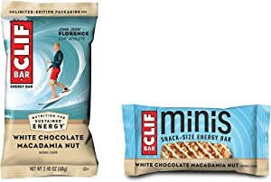 Clif Bar, Bars 10 Full Size and 10 Mini Energy Bars Made with Organic Oats Plant Based Food Vegetarian Kosher 2.4oz and 0.99oz Protein Bars, White Chocolate Macadamia, 20 Count