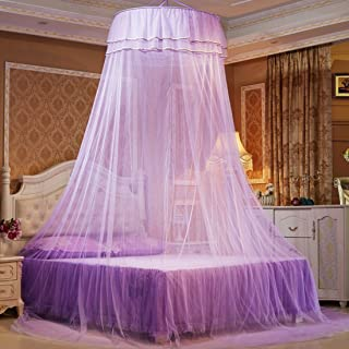 Petforu Mosquito Net Dome, Princess Bed Canopies Netting Elegant Lace with 2 Butterflies for Decor - Purple