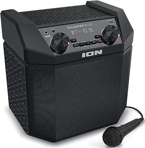 ION Audio Tailgater Plus – Enceinte Bluetooth portable 50W avec batterie rechargeable intégrée, radio, port USB et Mi...