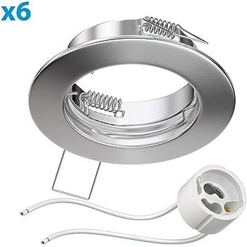 Parlat Ghiera per faretto Circ Alluminio ghiera per faretto Cromo Opaco orientabile 10 PZ LED//Halogen//GU10//MR16//PAR16//50mm