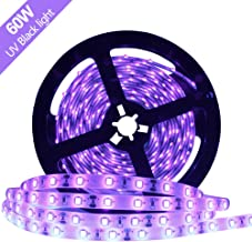 Super Bright 60 Watts UV Black Light LED Strip, 16.4FT/5M 3528 300LEDs 395nm-405nm Waterproof IP65 Blacklight Night Fishing Sterilization implicitly Party with 12V 5A Power Supply