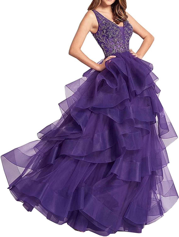 Engerla Women's Straps Organza Vneck Backless Long Prom Dress Ball Gown