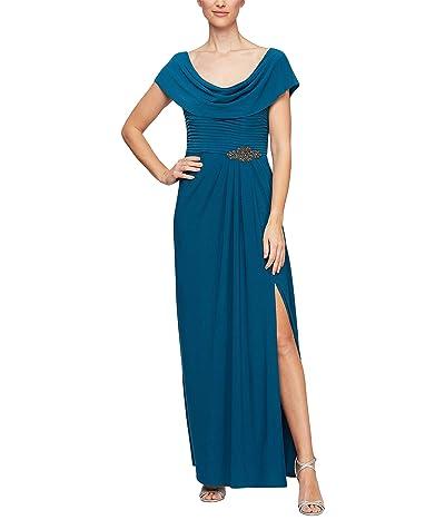 Alex Evenings Long Cowl Neck A-Line Dress with Beaded Detail at Waist (Teal) Women