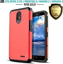 Star Shock Absorption Cases Compatible for ZTE Maven 3/ZTE Overture 3/ZTE Zfive 2/ZTE Prestige 2/ZTE Maven 2/ZTE Sonata 3 Phone [Premium Screen Protector Included] Protective Cover-Red