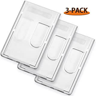 LOEO 3 Pack Heavy Duty ID Badge Holder, Hard Plastic Clear Holder with Thumb Slots, Holds 2 Cards