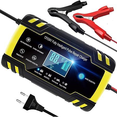 YDBAO Chargeur de Batterie Intelligent 8A 12V/24V Chargeur de Batterie Portable Automatique pour Voiture Moto Réparation Écran LCD Tactile Convient à Batterie AGM Gel Wet SLA