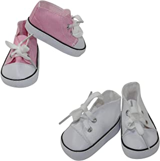Arianna Pink   White Low Cut Canvas Sneakers 2 Pairs Bundle
