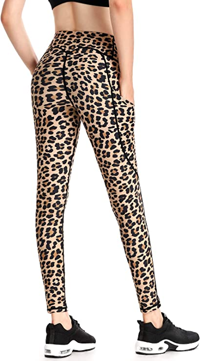 FITTIN Cheetah Printed Yoga Leggings for Women with Pocket - Ankle Length Pants for Running Sports Fitness