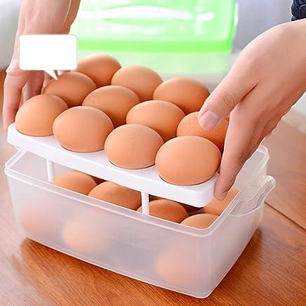 Preisvergleich für Eierhalter Kühlschrank, Zubita Eierbehälter 24 eier Eierkörbe Eierbecher Stapelbar, Grün