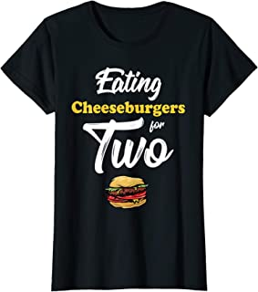 Womens Pregnancy Shirt Eating Cheeseburgers For Two 4th Of July T-Shirt