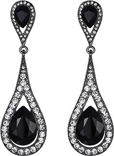 EVER FAITH Women's Austrian Crystal Elegant Dual Teardrop Pierced Dangle Earrings