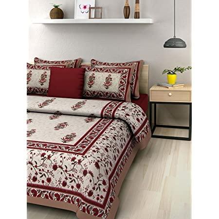 BedZone 100% Cotton Rajasthani Jaipuri Traditional Floral King Size Double Bedsheet with 2 Pillow Covers - Multicolor