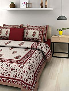 BedZone 100% Cotton Rajasthani Jaipuri Traditional King Size Double Bed Bedsheet with 2 Pillow Covers - Multi