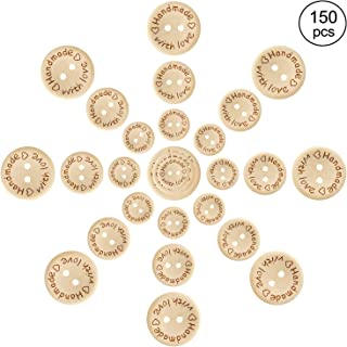 Pinowu Wooden Handmade with Love Round Craft Décor 2 Holes Wooden Sewing Buttons (15-20-25mm) (150pcs)