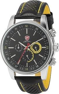 Men's Quartz Movement Date Black Yellow Sport Watch SH095be