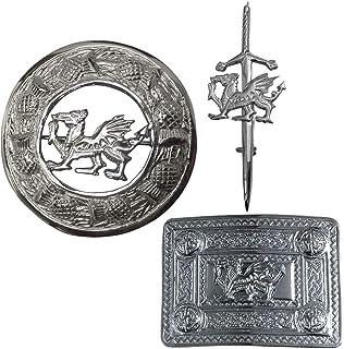 Kilt Pin Belt Buckle and Fly Plaid Brooch Dragon Style Badge Set Chrome Finish