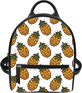 Backpack Mini 3D Printed pineapple Pattern Purse Pu Leather Zipper Small Travel Daypacks Bag for Women Girls Student