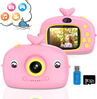 Kids Camera Toys for 3,4,5,6 Year Old Girls, Digital Camera for Kids Gifts, Cute Camcorder Video Child Cam Recorder with 32GB SD Card for Indoor Outdoor Play
