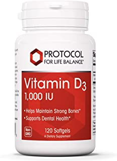 Protocol For Life Balance - Vitamin D3 1,000 IU - Supports Calcium Absorption, Bone and Dental Health, Immune System Funct...