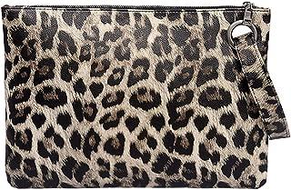 Candice Leopard Clutch Handbag Cosmetic Makeup Bag Wristlet Evening Bag Envelop Purse
