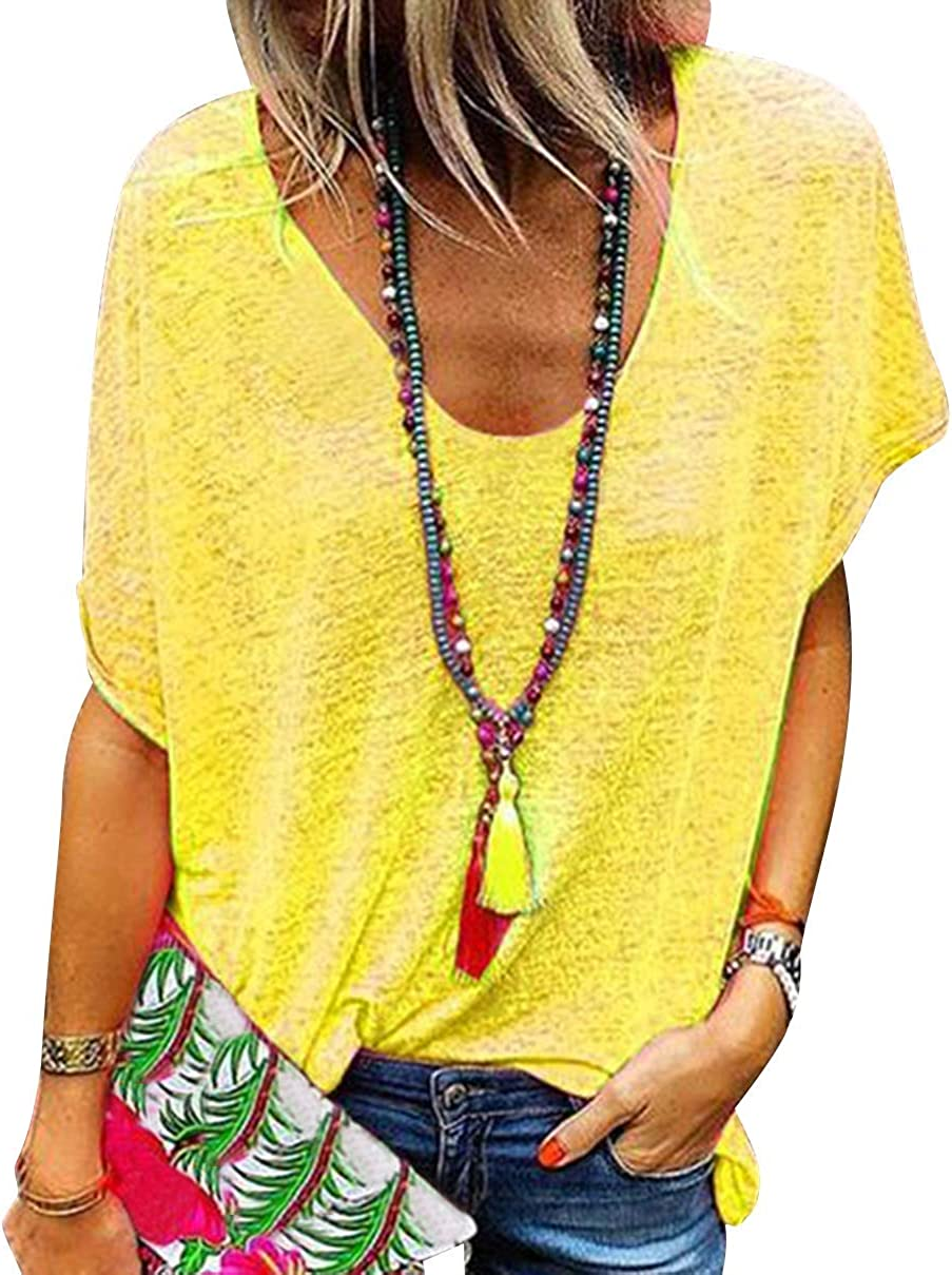 Camiseta Escote V Mujer Camisetas Cuello V Manga Corta Mujeres Basicas Oversize Anchas Tops Verano Casual Remeras Largas Damas Top Chica Playeras ...