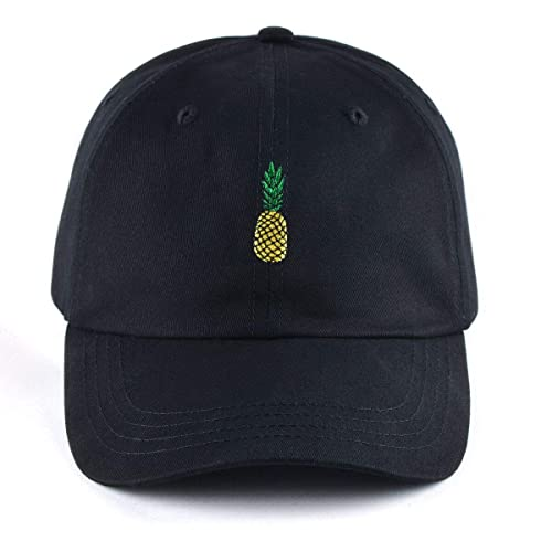 AUNG CROWN Pineapple Embroidered Dad Hat Cotton Women Men Cute Adjustable  Baseball Cap White 5960d776a62